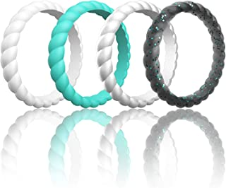 ThunderFit Womens Thin Swivel Rings, 10 Rings / 8 Rings / 4 Rings / 1 Ring - Stackable Silicone Wedding Rings - 2.5mm Wide - 2mm Thick