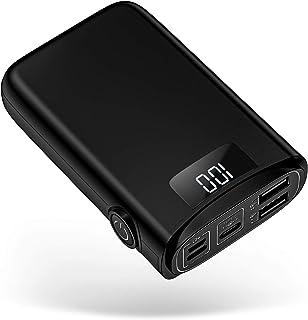 POSUGEAR Powerbank 10000mAh, Caricatore Portatile con 3 Ingressi di USB C/Micro/L ightning, 2 Uscite e LED Dispaly Compati...