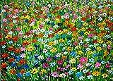 Generisch FineDecoArt - Colección abstracta, pintura Naive, arte acrílico, cuadro pintado a mano, 75 x 105 cm, diseño de flores, paisaje, color verde