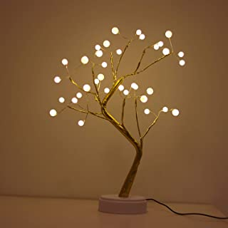 Bonsai Lighted Tree Table Top LED Shimmer Tree Light Battery & USB Powered Touch Switch Lit Pearl Branch Lights for Holida...