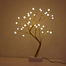 Bonsai Lighted Tree Table Top LED Shimmer Tree Light Battery & USB Powered Touch Switch Lit Pearl Branch Lights for Holiday Home Decorative Night Light for Living Room Xmax Gifts(TLGWW-P36)