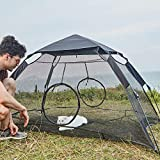 YDYL Easy Installation Mesh Cat Play Tent for Indoor Cat with Rainfly and Two Entrance Zipper Door Size 75' L X60 W X36 H (190 cm Lx152cm Wx91cmH) Black Color