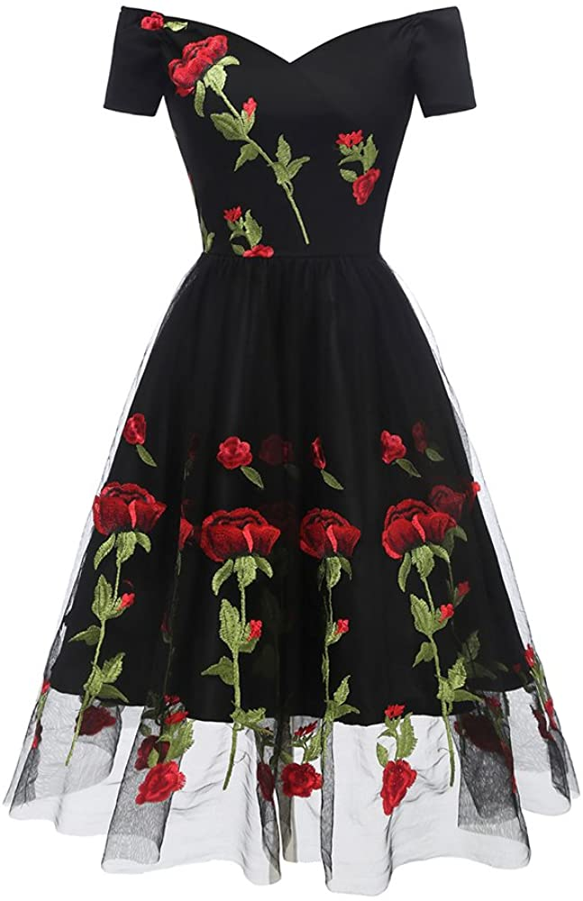 Aox Women Vintage 1950s Boat Neck Embroidered Rose Cocktail Party Prom Ball Swing Dress Midi Skater