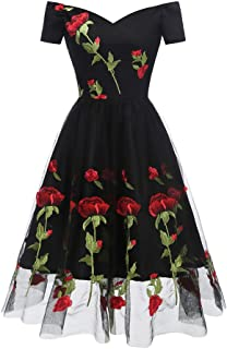 da9b7c999d5 Aofur Women s Vintage Style Rose Embroidered 1950s Rockabilly Evening Party  Lace Swing Tea Dress A Line
