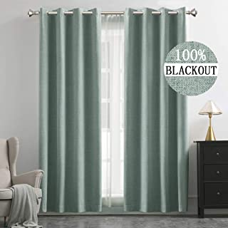MIULEE Linen Texture Curtains for Bedroom Solid 100% Blackout Thermal Insulated Green Curtains Grommet Room Darkening Curtains/Draperies Luxury Decor for Living Room Nursery 52x96 Inch (2 Panels)