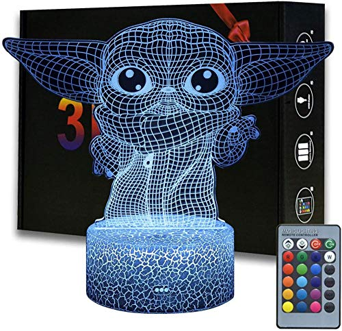 Lámpara de ilusión 3D, luz nocturna 3D para niños fanáticos de Star Wars (BY2) 16 cambio de color con control remoto, decoración de dormitorio, regalo creativo de Navidad y cumpleaños