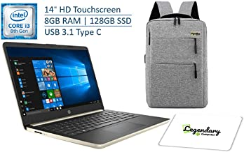 2019 HP 14 Inch HD Touchscreen Premium Laptop PC, Intel Core i3-8145U (Beat i5-7200U), 8GB RAM, 128GB SSD, USB 3.1 Type C, Fingerprint Reader, Gold, W/ Legendary Computer Backpack & Mouse Pad Bundle