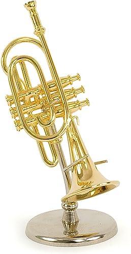 Trompette Miniature - Laiton Couleur dorée - Objet de décoration - Cadeau Musique - Livré dans Son Coffret avec Suppo...