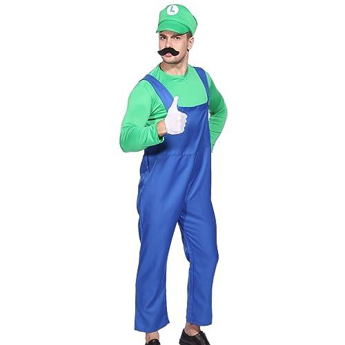 Anladia Disfraz de Luigi para Adulto Hombre Cosplay Dress Fiesta ...