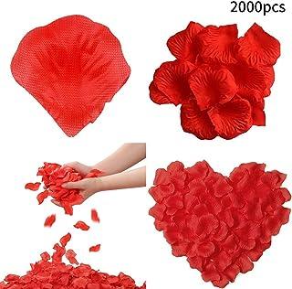QWEPU 2000 PCS Pétalos de Rosa, Petalos de Rosa Artificiales Rojos Petalos de Rosa para Bodas Confeti Boda Decoración Accesorios para Bodas Fiesta Cumpleaños