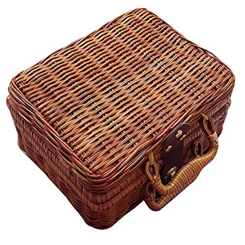VEED Mini Maleta de Mimbre de bambú de Picnic de Viaje Hecha a Mano Caja de Comida cosmética de Fruta Tejida