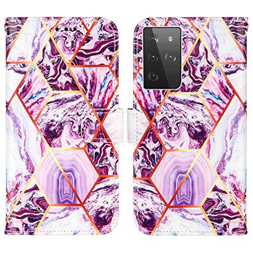 Nadoli Marmor Brieftasche Hülle für Samsung Galaxy S30 Ultra,Geometrische Marmor Design Lederhülle mit Standfunktion Kartenfach Magnetverschluss Silikon Bumper Schutzhülle