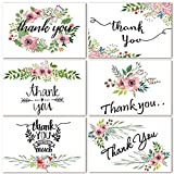 Thank You Cards Floral Flower Greeting Cards Notes for Wedding, Baby Shower, Bridal, Bussiness, Anniversary- 48 Assorted Bulk Box, 6 Design Blank Inside 4 x 6 inch- Brown Craft Envelopes Included wedding invitations May, 2021