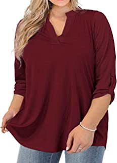 Womens Plus Size Tops V Neck T-Shirts Blouses Casual Soft...