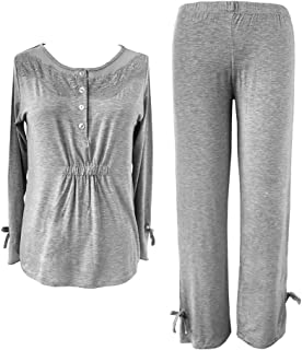 Sleepy Time Women's Bamboo Pajamas, Hot Flash Menopause Relief PJS, Round Neck