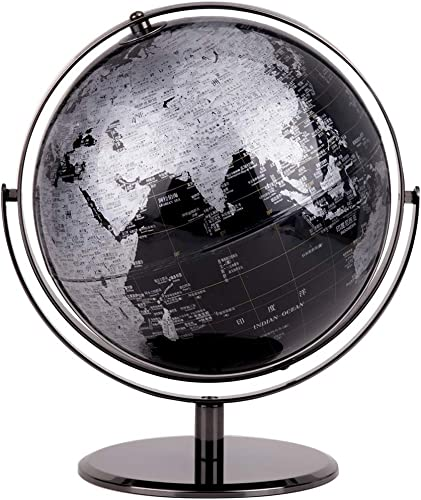 Glodqy Weltkugel drehbar Globus,Lernspielzeug, Durchmesser 30 cm,Schwarz