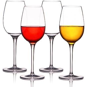 Weingläser plastik ThreeCat unzerbrechliche weingläser 100% Tritan Bruchsicher weinglas aus kunststoff Transparent wie echtes Gläser BPA-frei,12.5OZ (355ml),4er Set