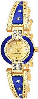 Glamexy Blue Diamond Bracelet Quartz Movement Analogue Golden Dial Girl's Watch for