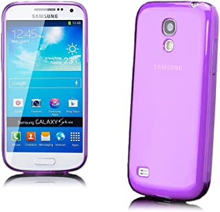 iCues Case Compatible with Samsung Galaxy S4 Mini Transparent TPU Purple [Screen Protector Included] Clear Rubber Cover Crystal Transparent Silicone Shell TPU Minimalist