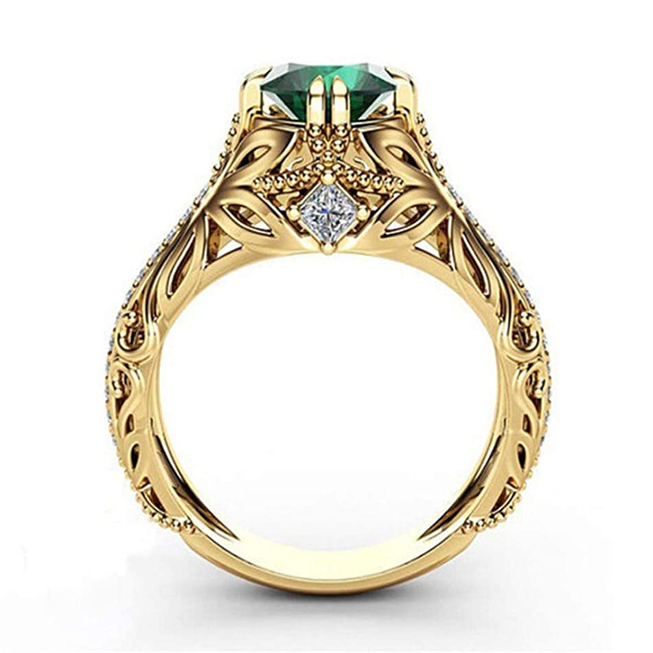 WILLTOO???? European and American Luxury Simulation Green Diamonds Women's Wedding Ring ????
