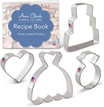 Ann Clark Cookie Cutters 4-Piece Wedding Cookie Cutter Set with Recipe Booklet, Wedding Dress, Wedding Cake, Diamond Ring and Heart