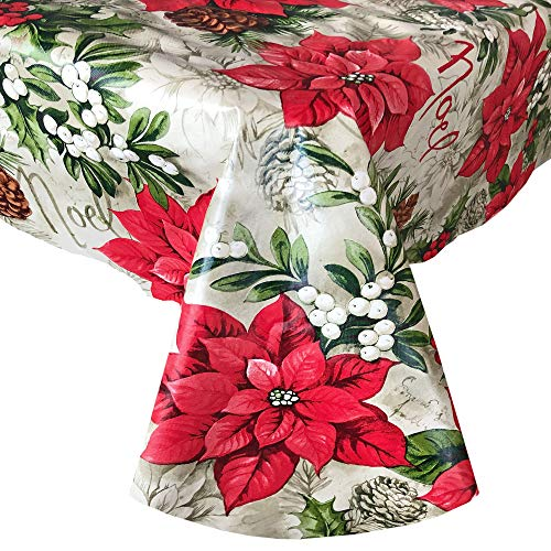 Newbridge Majestic Winter Poinsettia Festive Floral Christmas Print Vinyl Flannel Backed Tablecloth, Noel and Holly Berry Xmas Easy Care Wipe Clean Tablecloth, 60 Inch x 84 Inch Oval