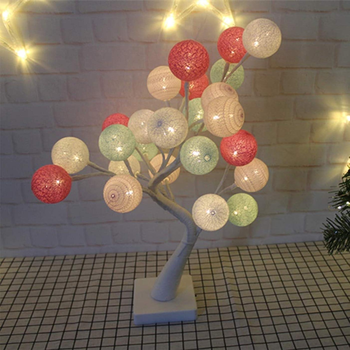 田舎者こする批判DOUGHNUT 24の暖かい白色LEDと屋内のクリスマスの装飾のために作動する電池付きのクリスマスライトコットンボールツリーテーブルランプ-17.72インチ45 Cmの表示ランプ (色 : Macaron color)