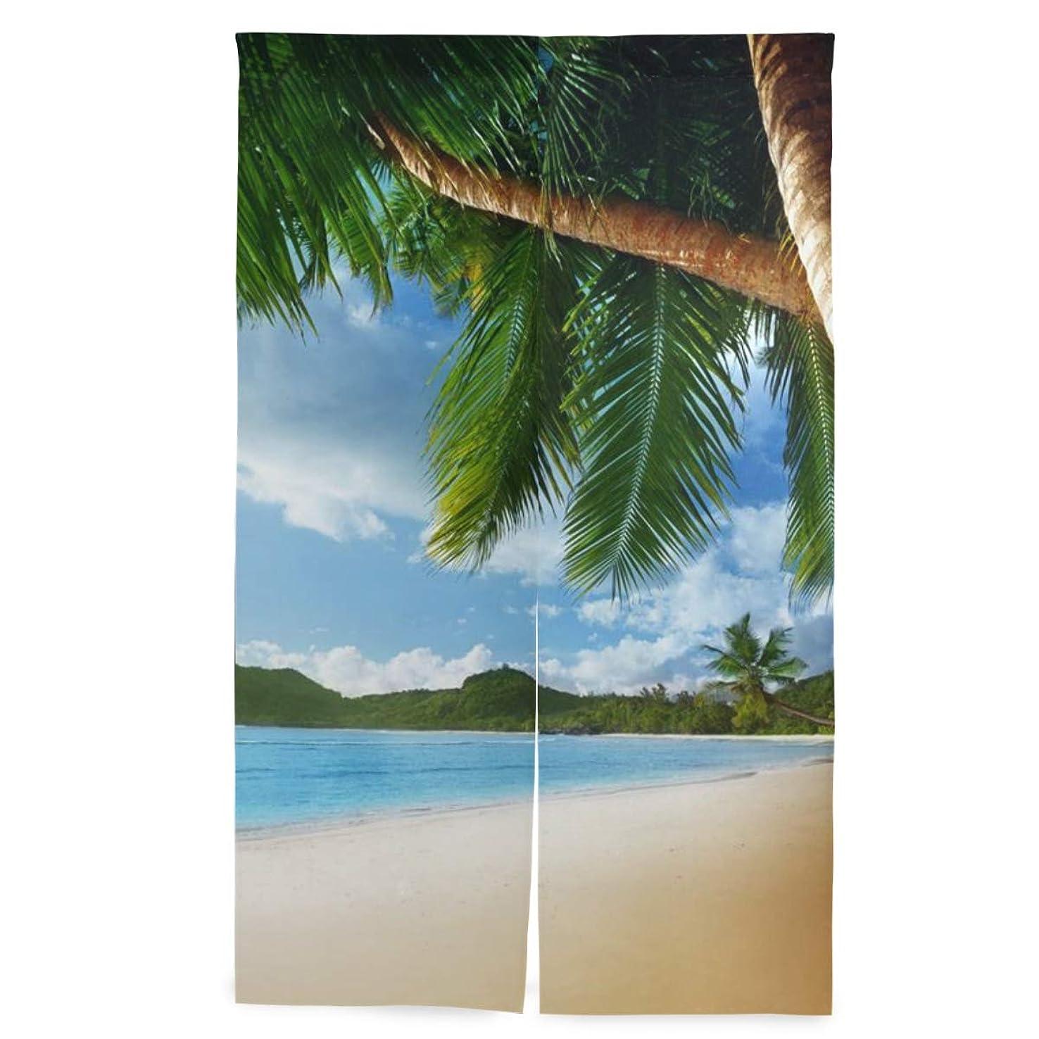湾薬用意味SAMAU のれん 遮光 間仕切り 暖簾 ハワイ 海 風景 北欧 ロング 突っ張り棒付き 86×丈143cm