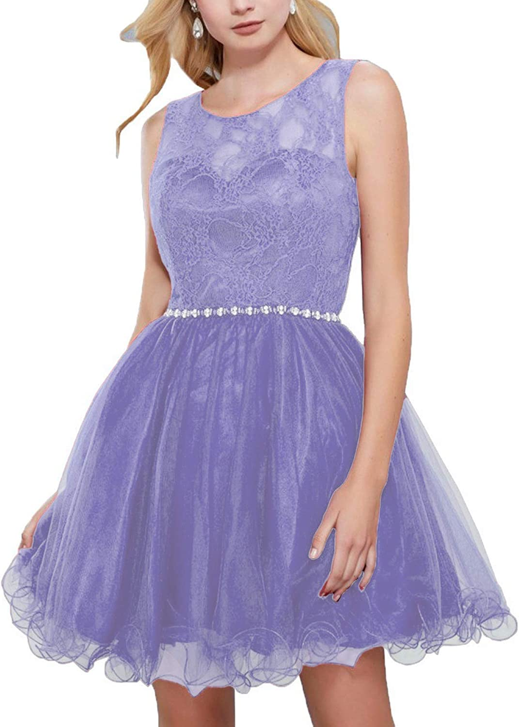 BessWedding Women's Tulle Homecoming Dresses Short 2018 Laceup Back Prom Dress BHS052