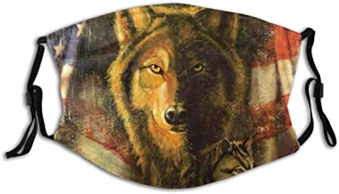 BYJHMB Wolf and Patriotic American Flag Cotton Washable Nose Wired Face Cover Filter Pocket Wide Cover with Filter