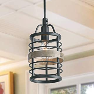 LNC Farmhouse Faux-Wood Bond Pendant Lighting, 1 Light Small Ceiling Pendant Light Fixtures, Dimmable and Height Adjustable Mini Cage Lighting for Kitchen Island, Dining Room, Living Room