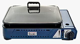 RSonic Deluxe–Barbacoa de gas portátil con parrilla + tapa de cristal RS de 8