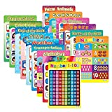 15 Pack Educational Poster Laminated Wall Chart for Children Kids Learning Art Preschool Alphabet