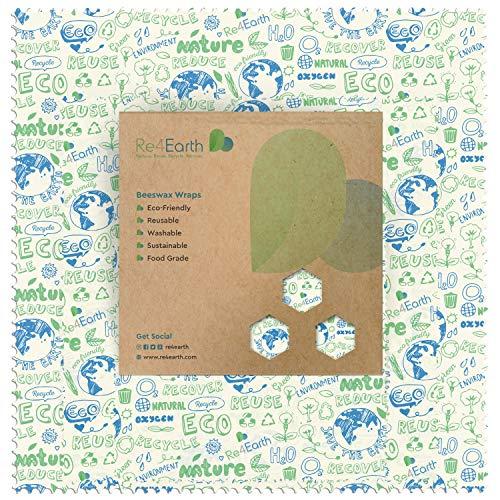Bienenwachstücher für Lebensmittel von Re4Earth - 4er Set Wiederverwendbare Wachstücher aus Bio-Bauwolle in 3 Größen - Biologisch Kunststofffreie Nachhaltige Frischhaltefolie mit Jojobaöl und Baumharz