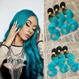 Virgin Human Hair Weave Two Tone #1B/Teal Omber Color 100% Remy Hair Weft 8A Grade Body Wave Human Hair Bundles Brazilian Hair Extensions