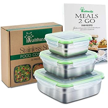 Stainless Steel Food Storage Containers - Set of 3 - Metal Lunch Box - Sandwich Container, Snack Boxes for Kids, Kitchen Storage, Leak Proof BPA-Free Eco Friendly - Bonus Healthy Recipe eBook & Videos