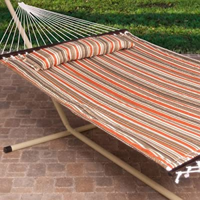 2 Person Free Standing Hammock 13 Ft Sienna Stripe Quilted with Steel Stand