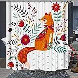 Fox Green Vier niedliche Füchse im Herbst Blätter grün-gelb Polyester Stoff wasserdicht Duschvorhang mit Haken Badezimmer Dekoration 183 x 183 cm mit 12 Kunststoffhaken