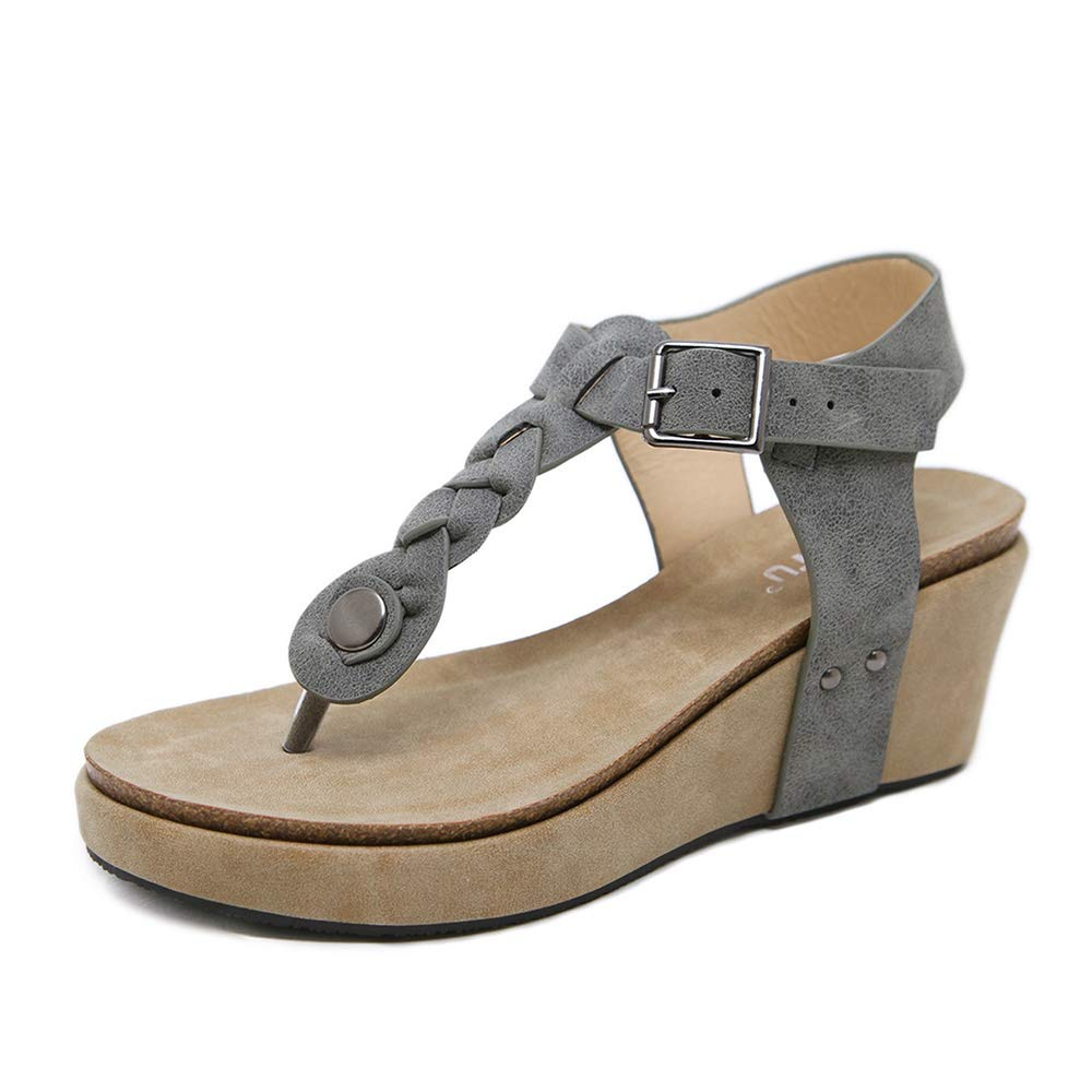 Wollanlily 女士坡跟凉鞋 T 型绑带厚底露跟踝带波西米亚夏季人字拖凉鞋