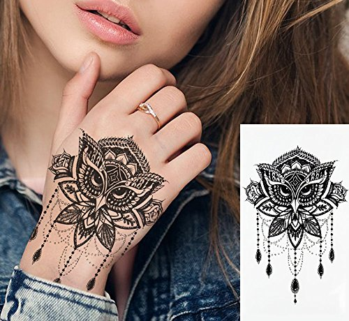 EROSPA® Tattoo-Bogen Temporär - Eule Maske Collier - 21 x 11 cm