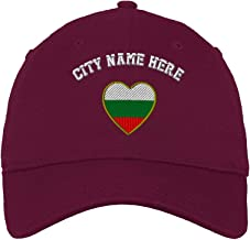 Custom Low Profile Soft Hat Heart Bulgaria Flag Embroidery City Name Cotton