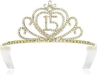 DcZeRong Princess Girls 15th Birthday Tiaras Crowns Gold Quinceanera Girls 15 birthday Tiara Crown