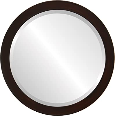 e321abd1bfa3 Round Beveled Wall Mirror for Home Decor - Vienna Style - Mocha - 26x26  outside dimensions