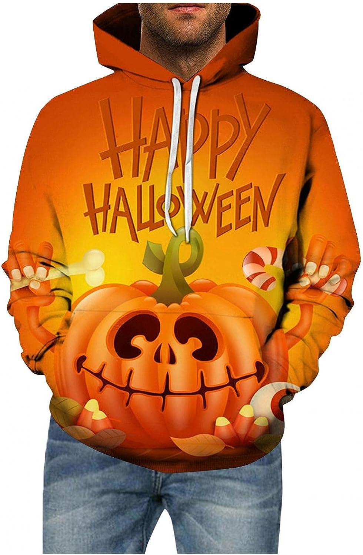 Hoodies for Men Men's Halloween Purple Evil Pumpkin Skull Variety Printed Hoodie Plus Size Fashion Hoodies Sweatshirts