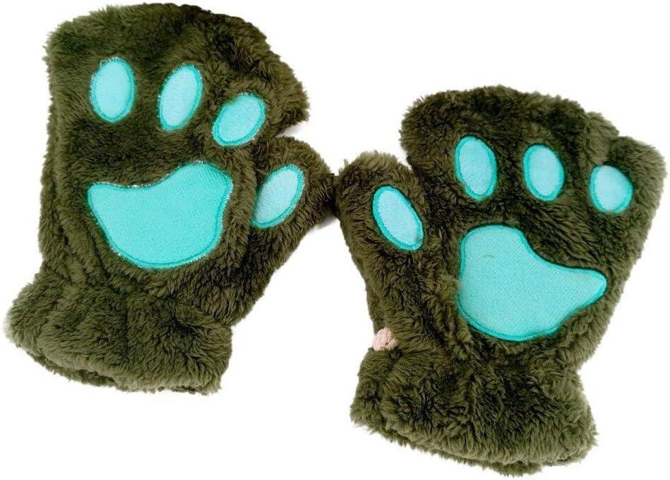 FASGION 2019 Winter Lovely Women Bear Cat Claw Paw Mitten Plush Gloves Short Finger Half Gloves Ladies Half Cover Female Gloves (Color : Green, Gloves Size : One Size)