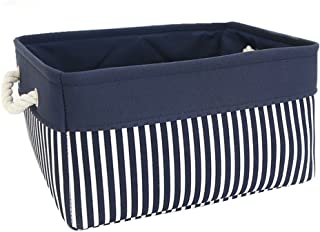 TcaFmac Fabric Nautical Basket for Storage,Collapsible Canvas Storage Bins Containers Organizing Basket for Gifts Empty,Shelves, Closet,Nursery Baby Room 14(L) x 10(W) x 7(H) inches