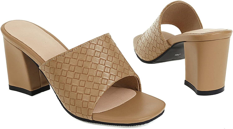 Fashion Braid Band Slide Sandals for Women Open Toe Block High Heels Pumps Slip On Backless Solid Colors Slides Mules