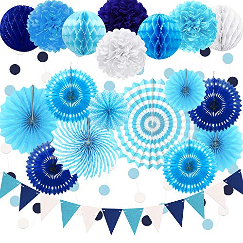 23Pcs Paper Fan Party Decoration, Navy Blue Hanging Paper Fans, Pom Poms Flowers, Garland String Polka Dot and Triangle Bunting Flag Packs for Boy Birthday, Bridal Shower, Baby Showers, Wedding