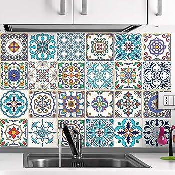 30 pi/èces Stickers adh/ésifs carrelages muraux azulejos 15 x 15 cm