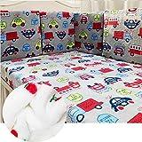 6pcs bebé franela cama parachoques acolchado grueso protector de ropa de cama niños y niñas, almohadillas para forro de cuna desmontables, almohada protección anticolisión sábana, decoración guardería